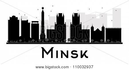 Minsk City skyline black and white silhouette. Vector illustration. Simple flat concept for tourism presentation, banner, placard or web site. Business travel concept. Cityscape with landmarks