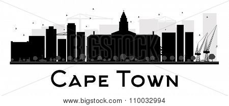 Cape Town City skyline black and white silhouette. Vector illustration. Simple flat concept for tourism presentation, banner, placard or web site. Business travel concept. Cityscape with landmarks