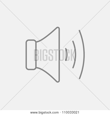Speaker volume line icon for web, mobile and infographics. Vector dark grey icon isolated on light grey background.