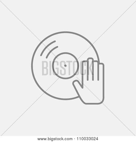 Disc with dj hand line icon for web, mobile and infographics. Vector dark grey icon isolated on light grey background.