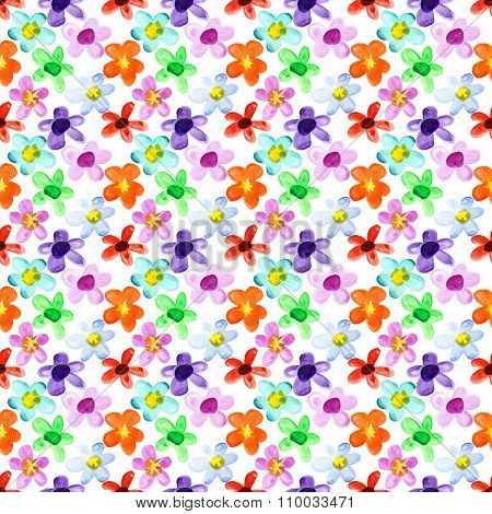 Watercolor flowers - multicolored seamless floral pattern