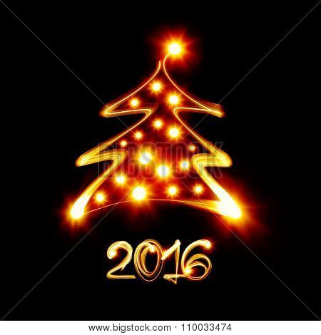 Christmas tree painted by light - Happy new year 2016