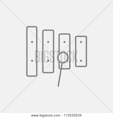 Xylophone with mallet line icon for web, mobile and infographics. Vector dark grey icon isolated on light grey background.