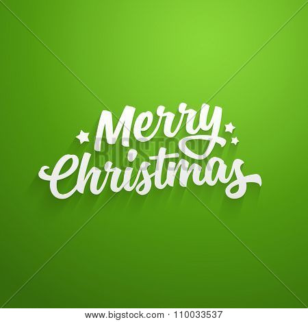 Vector Merry Christmas lettering. Greeting card template.