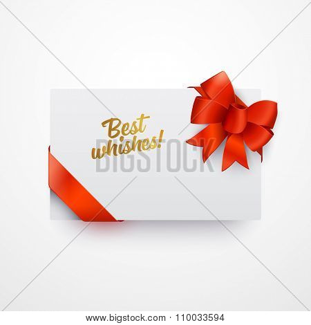 Vector greeting card with red ribbon. Empty template. Clear mock-up.