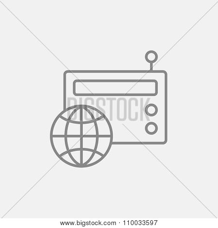 Retro radio with globe line icon for web, mobile and infographics. Vector dark grey icon isolated on light grey background.