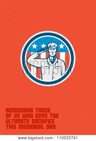 Memorial Day Greeting Card American Soldier Salute Circle