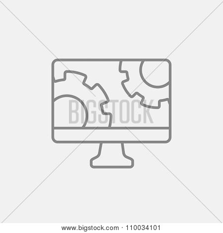 Computer monitor with gears line icon for web, mobile and infographics. Vector dark grey icon isolated on light grey background.