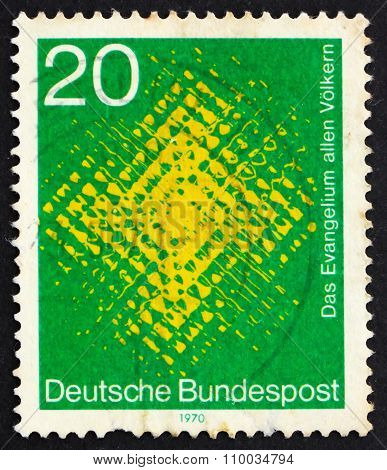 Postage Stamp Germany 1970 Cross Seen Through Glass