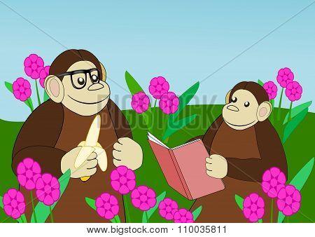 Apes  in Flower Garden