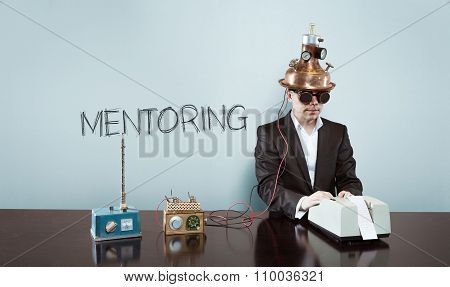 Mentoring concept with vintage businessman and calculator