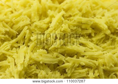 finely ground or mashed sweet potato for confectionery making. Shallow depth of field.