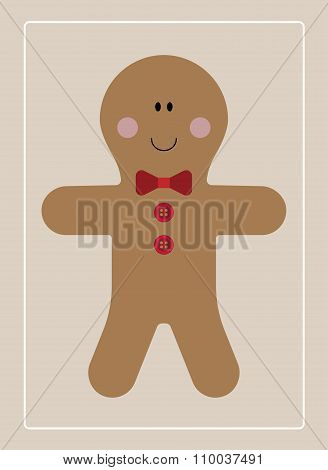 Gingerbread man in a bow tie