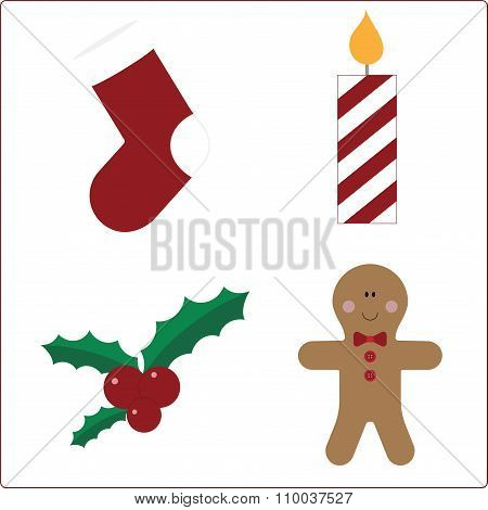 Attributes of Christmas on a white background