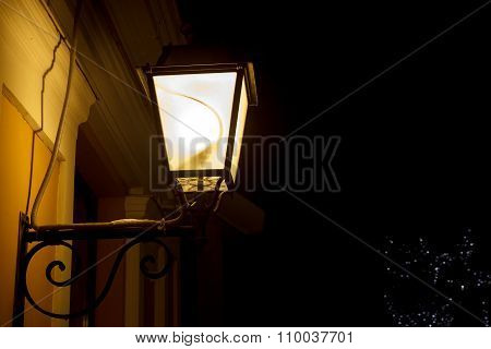 Lit light post