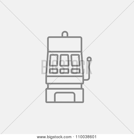 Slot machine line icon for web, mobile and infographics. Vector dark grey icon isolated on light grey background.