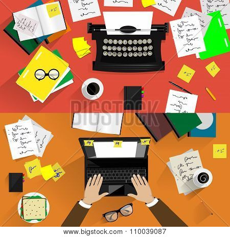 Illustrations Of Retro Typewriters. Concepts Of Writing, Copywriting, Screenwriting Etc