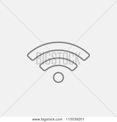 Wifi sign line icon for web, mobile and infographics. Vector dark grey icon isolated on light grey background.