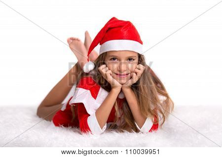 Cute Smiling Girl With Santa Hat And Suit