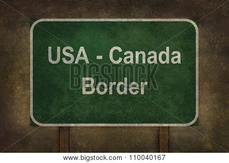 Usa - Canada Border Roadside Sign Illustration