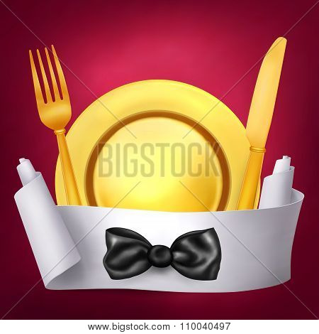 Golden fork knif and plate with paper role banner