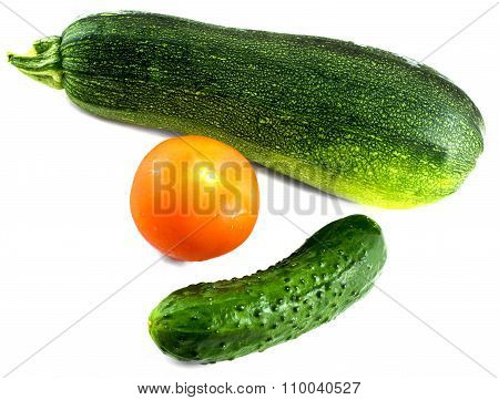 Composition From Cucumber, Tomato And Vegetable Marrow Isolated On White