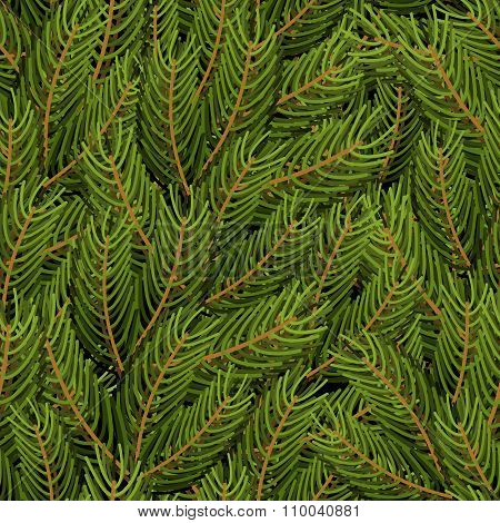 Spruce Branch Background. Fir Branch Seamless Pattern.  Christmas Tree Branch Texture. Natural Ornam
