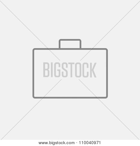 Briefcase line icon for web, mobile and infographics. Vector dark grey icon isolated on light grey background.