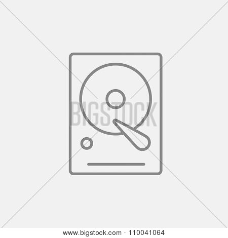 Hard disk line icon for web, mobile and infographics. Vector dark grey icon isolated on light grey background.