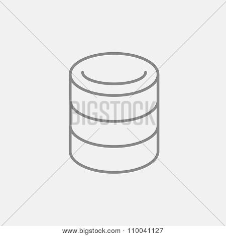 Computer server line icon for web, mobile and infographics. Vector dark grey icon isolated on light grey background.
