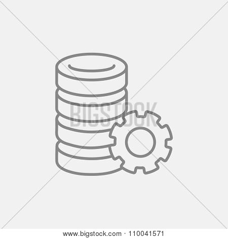 Server with gear line icon for web, mobile and infographics. Vector dark grey icon isolated on light grey background.
