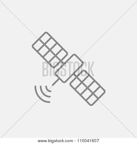 Satellite line icon for web, mobile and infographics. Vector dark grey icon isolated on light grey background.