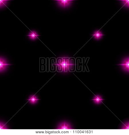 Seamless Pattern Of Luminous Stars. Illusion Of Light Flashes. Pink Flames On A Black Background.