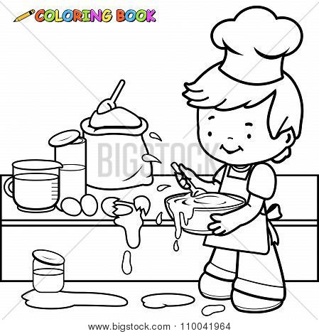 Little boy cooking and making a mess coloring book page