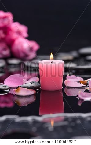 bouquet pink rose, petals with pink candle and therapy stones 