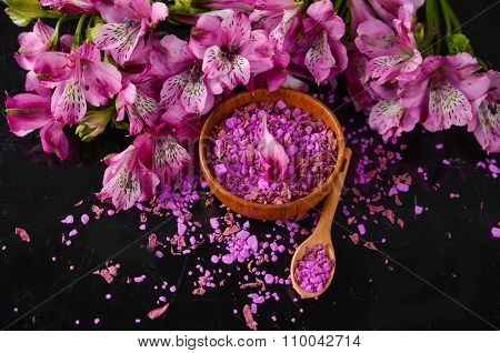 spa concept-pink orchid with bowl ,spoon