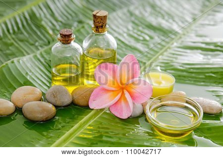 Spa set on long leaf with pile of stones