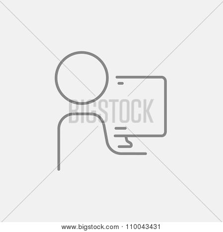 Man working at his computer line icon for web, mobile and infographics. Vector dark grey icon isolated on light grey background.