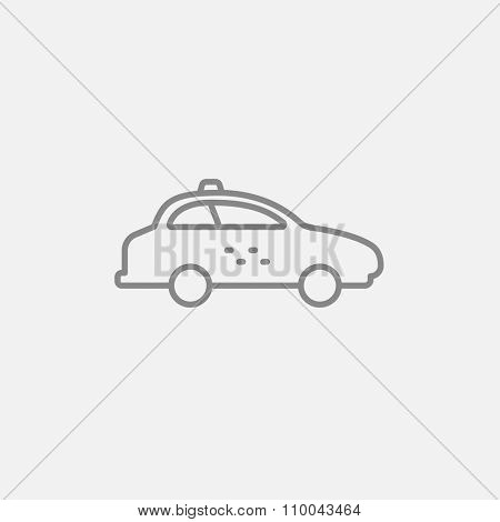 Taxi car line icon for web, mobile and infographics. Vector dark grey icon isolated on light grey background.