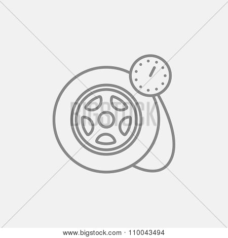 Pressure gauge tyre  line icon for web, mobile and infographics. Vector dark grey icon isolated on light grey background.