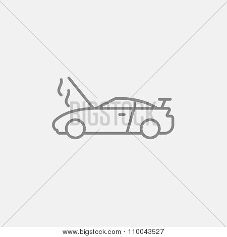 Broken car with open hood line icon for web, mobile and infographics. Vector dark grey icon isolated on light grey background.