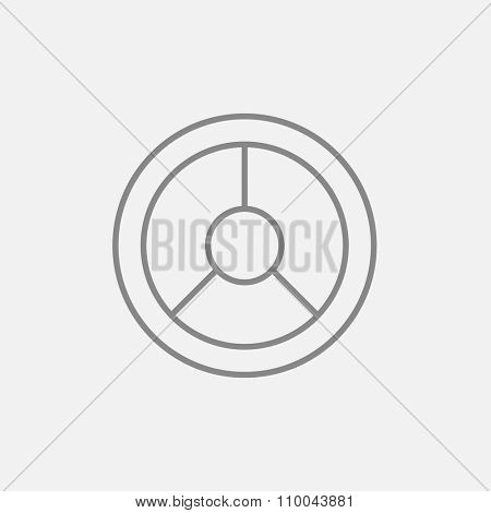 Steering wheel line icon for web, mobile and infographics. Vector dark grey icon isolated on light grey background.