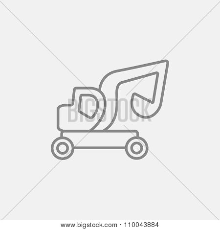 Excavator truck line icon for web, mobile and infographics. Vector dark grey icon isolated on light grey background.