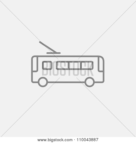 Trolleybus line icon for web, mobile and infographics. Vector dark grey icon isolated on light grey background.