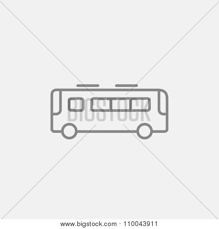 Bus line icon for web, mobile and infographics. Vector dark grey icon isolated on light grey background.
