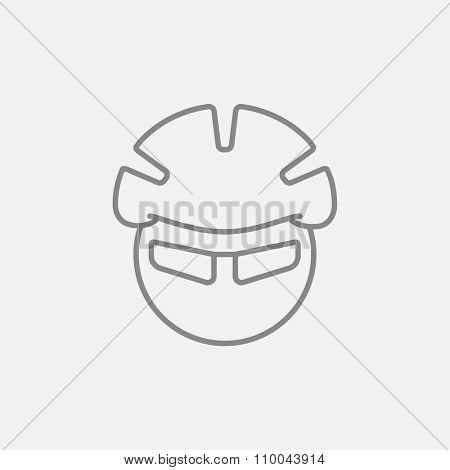 Man in bicycle helmet and glasses line icon for web, mobile and infographics. Vector dark grey icon isolated on light grey background.