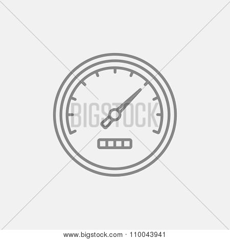 Speedometer line icon for web, mobile and infographics. Vector dark grey icon isolated on light grey background.