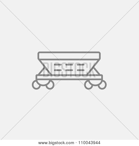 Cargo wagon line icon for web, mobile and infographics. Vector dark grey icon isolated on light grey background.
