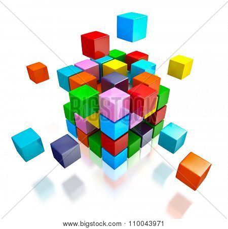 Business teamwork internet communication concept - colorful color cubes assembling into  cubic structure isolated on white with reflection