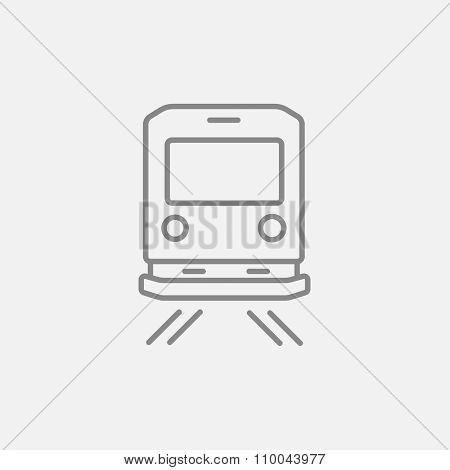 Back view of train line icon for web, mobile and infographics. Vector dark grey icon isolated on light grey background.